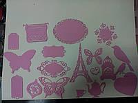 Набор высечек из картона 20 шт (Розовый)