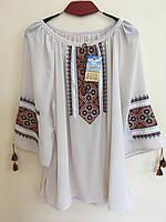 Шифонова вишита блуза тілесного кольору розмір 54-56, фото 1