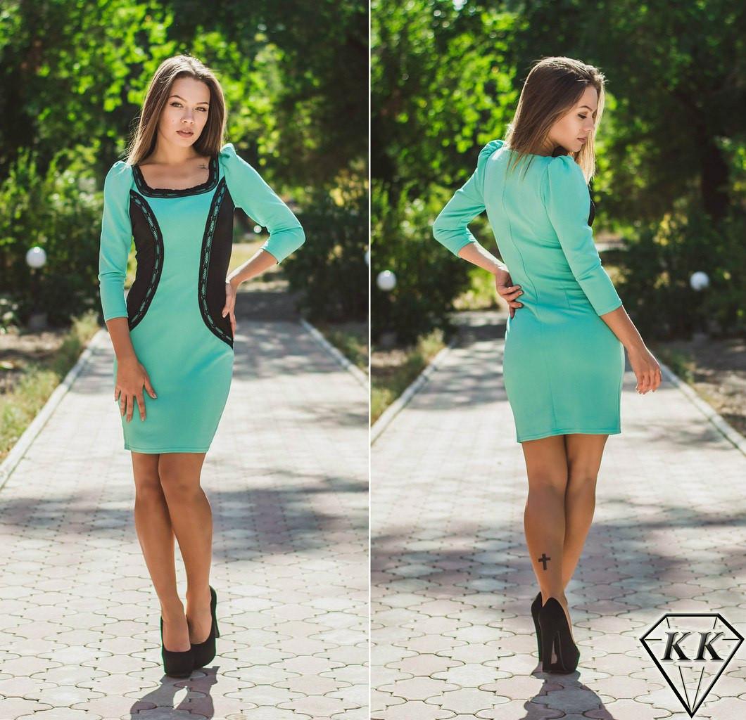 Короткое бирюзовое платье