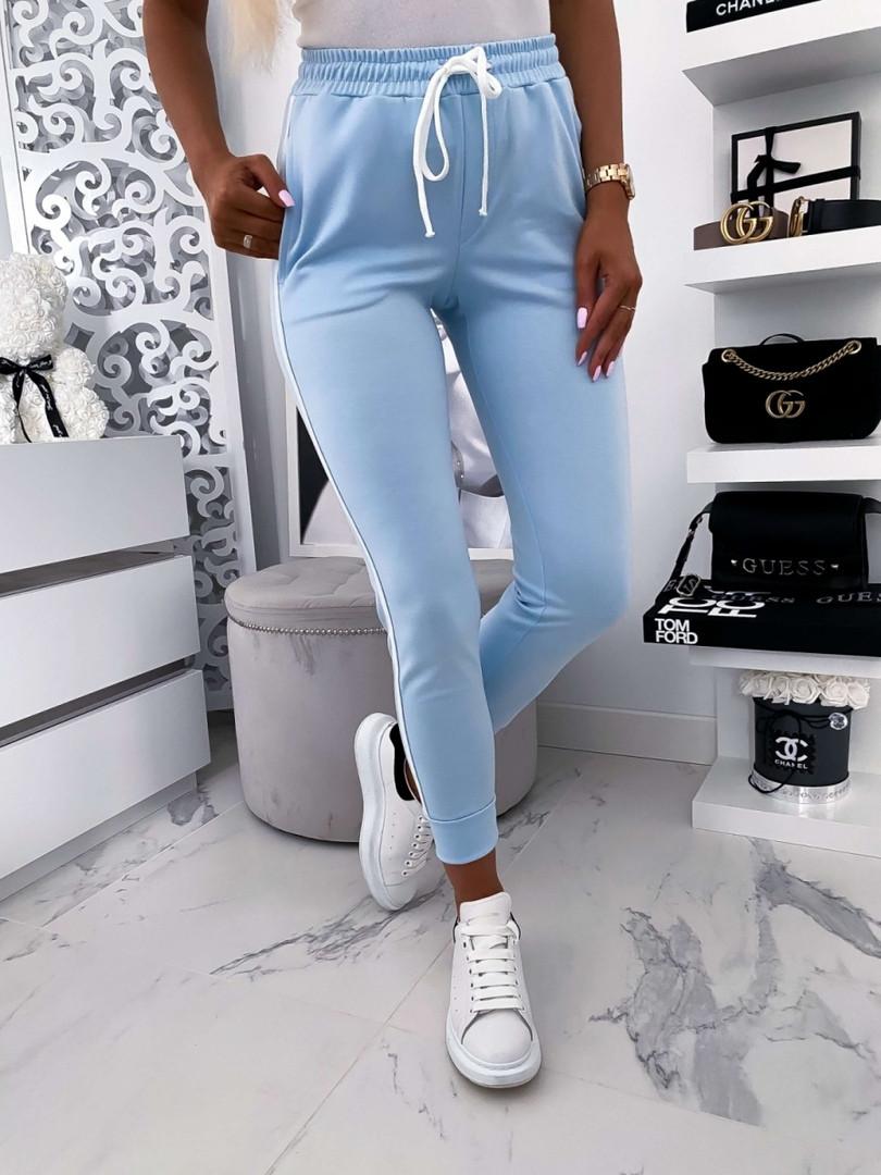 Женские брюки, креп - дайвинг, р-р 42-44; 44-46 (небесно-голубой)