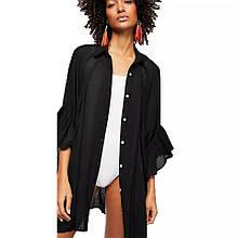 Туника-рубашка женская легкая шифон черный