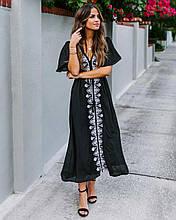 Туника-платье с вишивкой хлопок черный