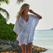 Коротка туніка на пляж жіноча вишиванка бахрома білий