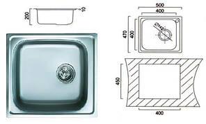 6110 Мийка Cristal прямокутна врізна 500x470x190 Decor, фото 2
