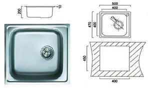 6110 Мийка Cristal прямокутна врізна 500x470x190 Polish, фото 2