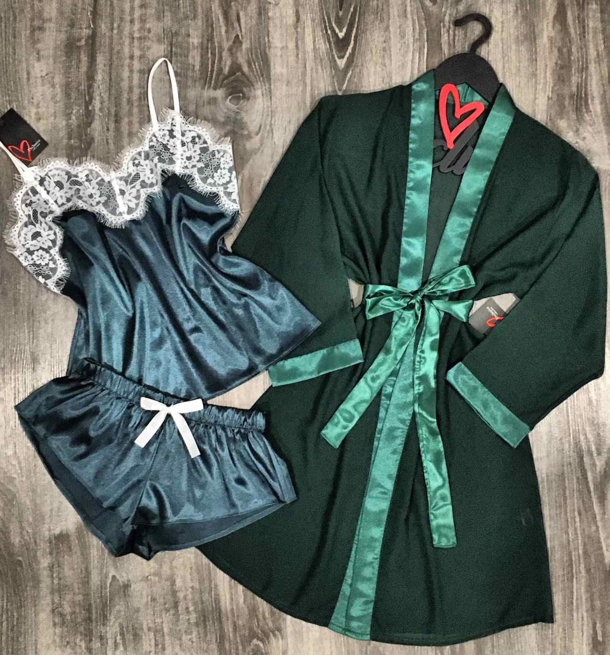 Темно-зеленый комплект тройка для сна, прозрачный халат+шелковая пижама с белым кружевом.