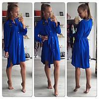 Платье рубашка в ярко синем цвете