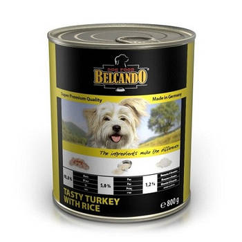 Консерва BELCANDO для собак вкусная индейка с рисом, 0,8 кг
