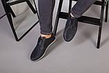 Мокасины мужские кожаные темно-синие с перфорацией, фото 4