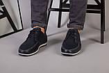 Мокасины мужские кожаные темно-синие с перфорацией, фото 9