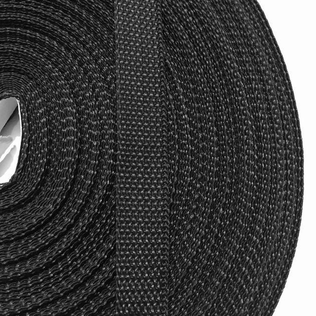 Стрічка ремінна 100% Полипропелен 20мм кол чорний (боб 50м) р 3086 Укр-з