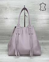 Кожаная женская сумка шоппер фиолетовая с длинными ручками K2027, фото 1