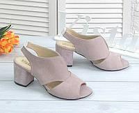 Лиловые замшевые босоножки на каблуке, фото 1