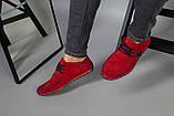Мокасини чоловічі з нубука червоні, перфорація, фото 4