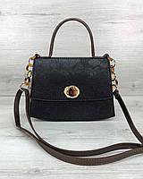 Черная женская сумка через плечо кросс-боди портфель 58501, фото 1