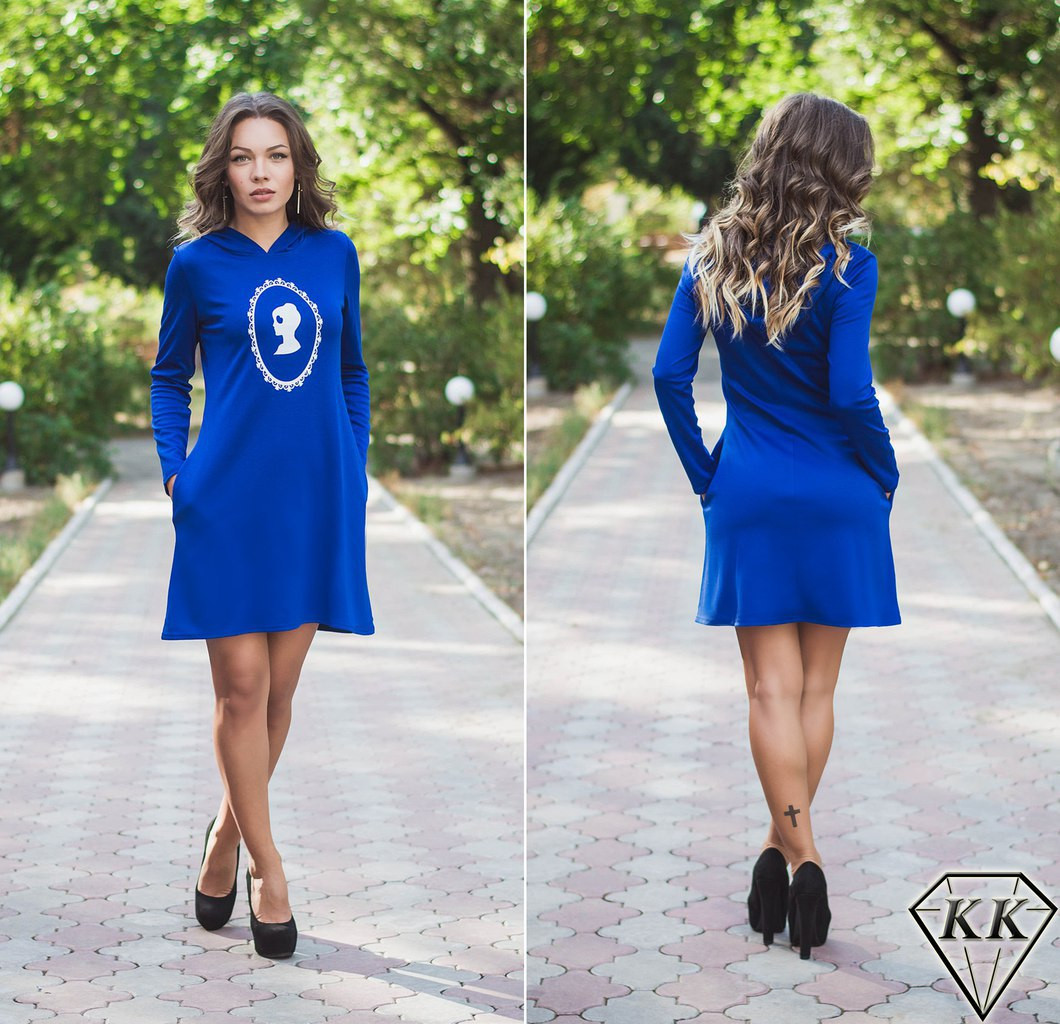 Синее платье с капюшоном