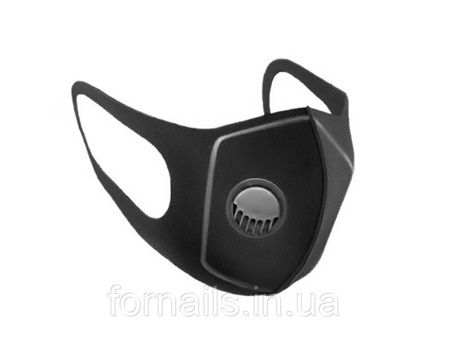 Багаторазова пітта-маска з клапаном, чорна