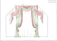 эскиз оформления окна в кабинет (тюль,шторы с кантом, ламбрекен, подхваты)