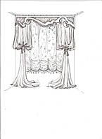 эскиз оформления окна в детскую (австрийская тюль, шторы - тюльпаны, кисти, ламбрекен)