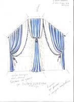 эскиз оформления окна в спальню (тюль, шторы комбинированные для эркерного окна)