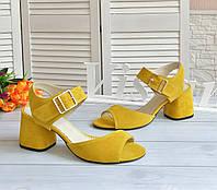 Желтые замшевые босоножки от производителя, фото 1