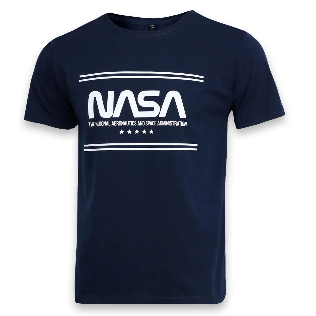 Футболка мужская т синяя с принтом NASA Ф-10 DBLU L(Р) 19-626-020