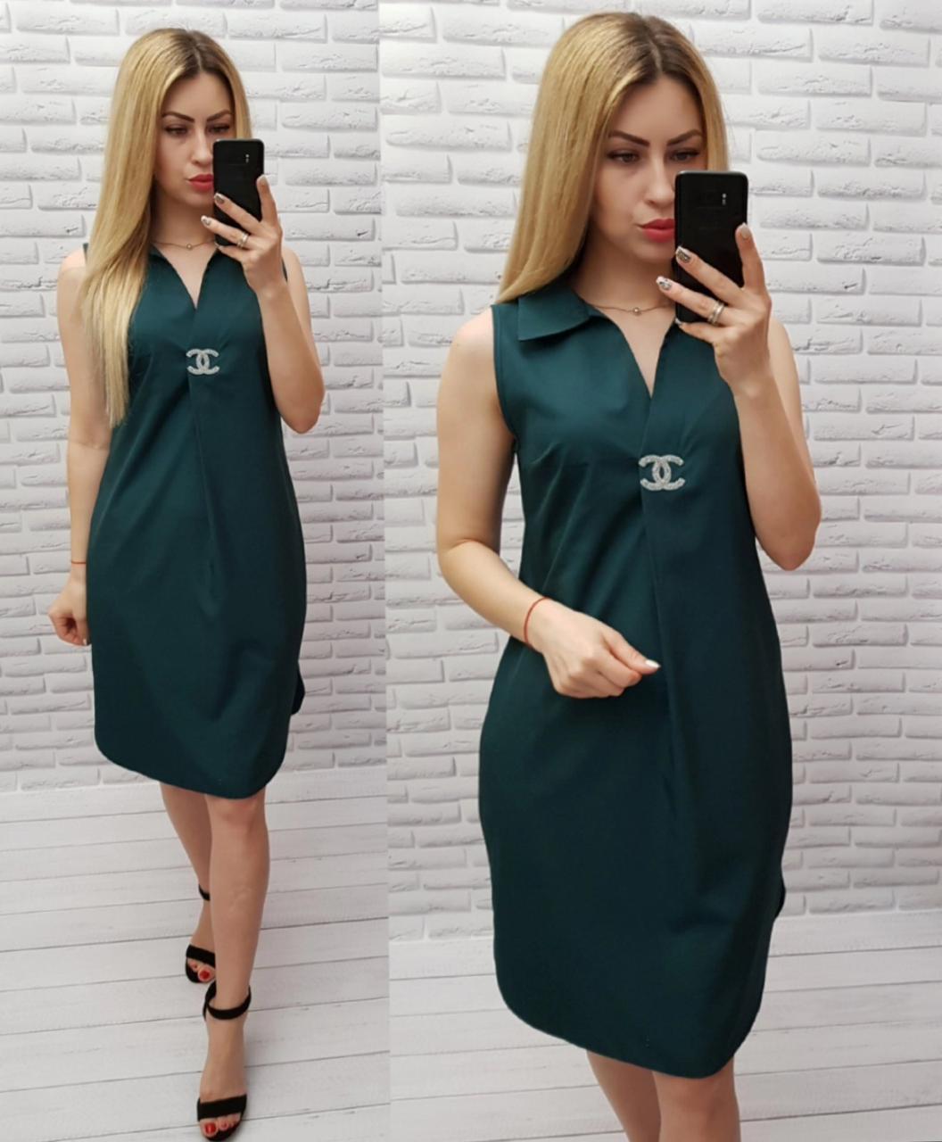 Арт. 167 Летнее платье без рукава темно-зеленое/ темно зеленого цвета/ хвоя