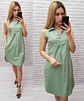 Арт. 167 Летнее платье без рукава снежная мята/ бледно-зеленое/ светло-зеленое/ мятный