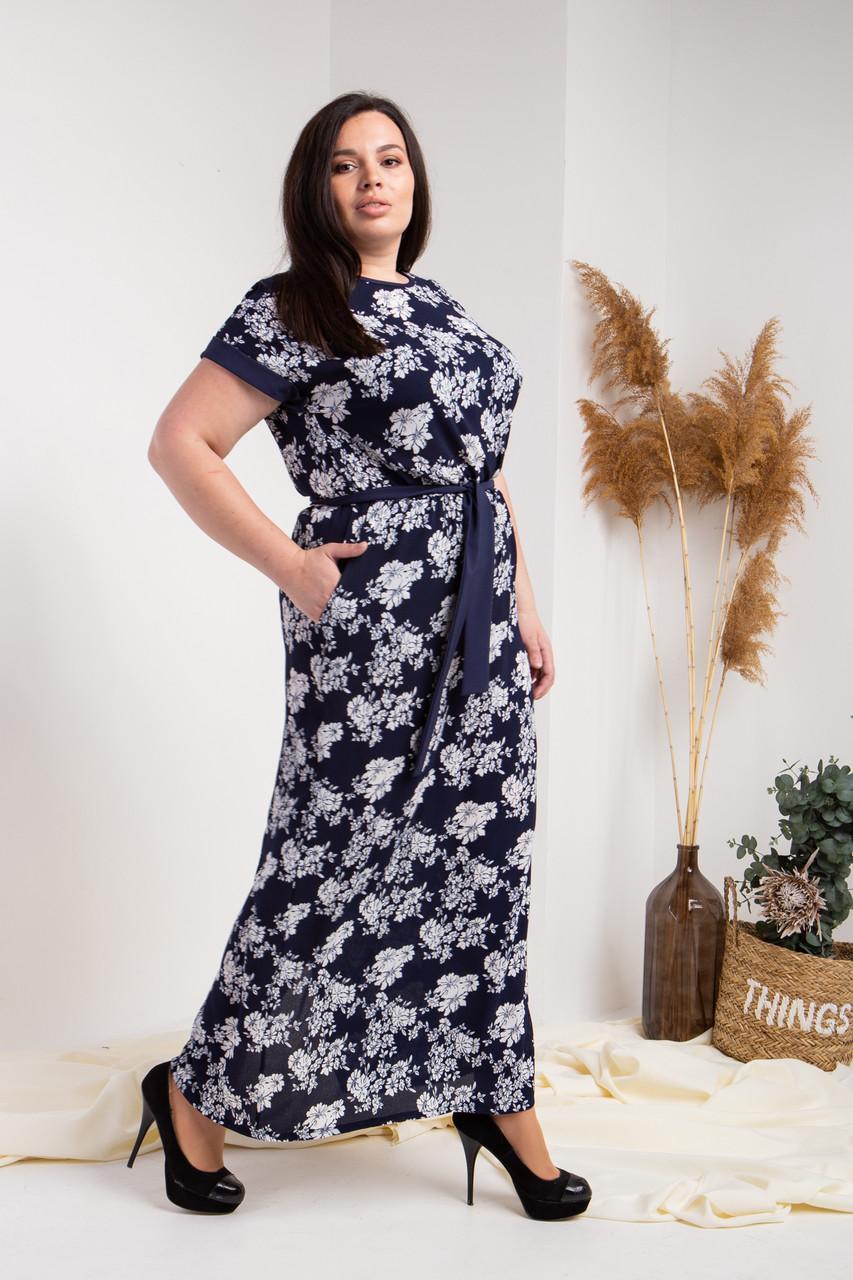 Летнее платье №752-1, размер 52,54,56,58 синие крупные цветы