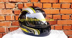 Шоломи для мотоциклів hel-met 101 чорний жовтий малюнок, фото 2