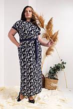 Летнее платье №752-2, размер 52,54,56,58 синие мелкие цветы