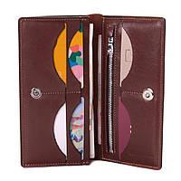 Мужской кожаный кошелек портмоне купюрник коричневый на магните Grande Pelle