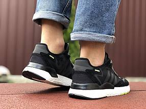Черные кроссовки мужские сетка эко замша деми, фото 2