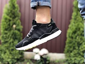Черные кроссовки мужские сетка эко замша деми, фото 3