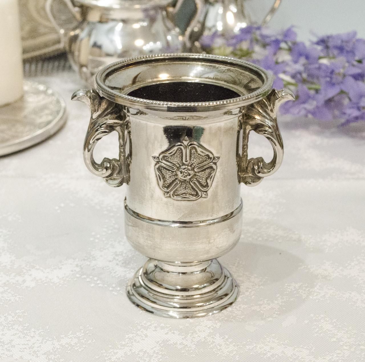 Посеребренная вазочка, подставка для зубочисток, серебрение, Англия, винтаж