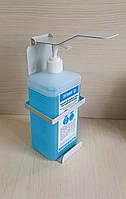Настенный дозатор-держатель локтевой для антисептика 1л под прямоугольную бутылку