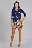 Модное оригинальное женское платье мини с цветочным принтом
