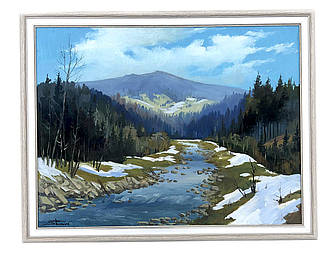 Картина маслом ручной работы. Весенний пейзаж. Автор: Михаил Шимон