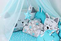 Комплект в кроватку в Голубых цветах, фото 3