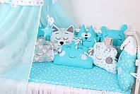 Комплект в кроватку в Голубых цветах, фото 5