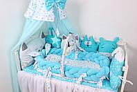 Комплект в кроватку в Голубых цветах, фото 4