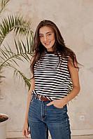 Хлопковая женская футболка безрукавка в полоску