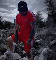 Мужской летний комплект шорты и футболка Adidas красный. Живое фото. Реплика. 3 цвета!