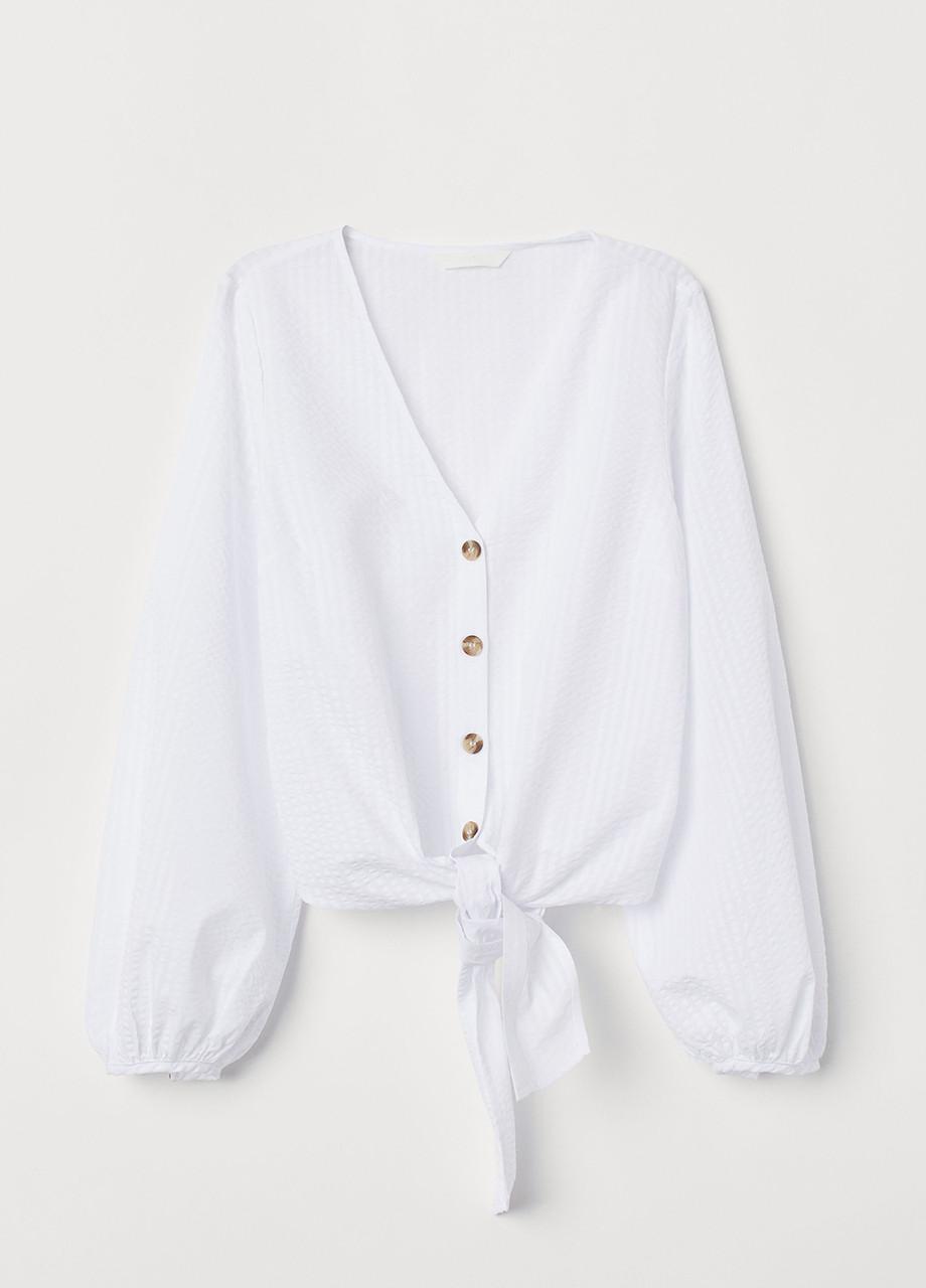 Белая однотонная блузка H&M демисезонная