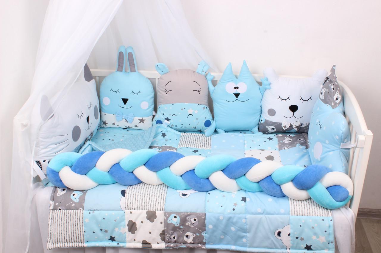Комплект в кроватку в Голубых тонах
