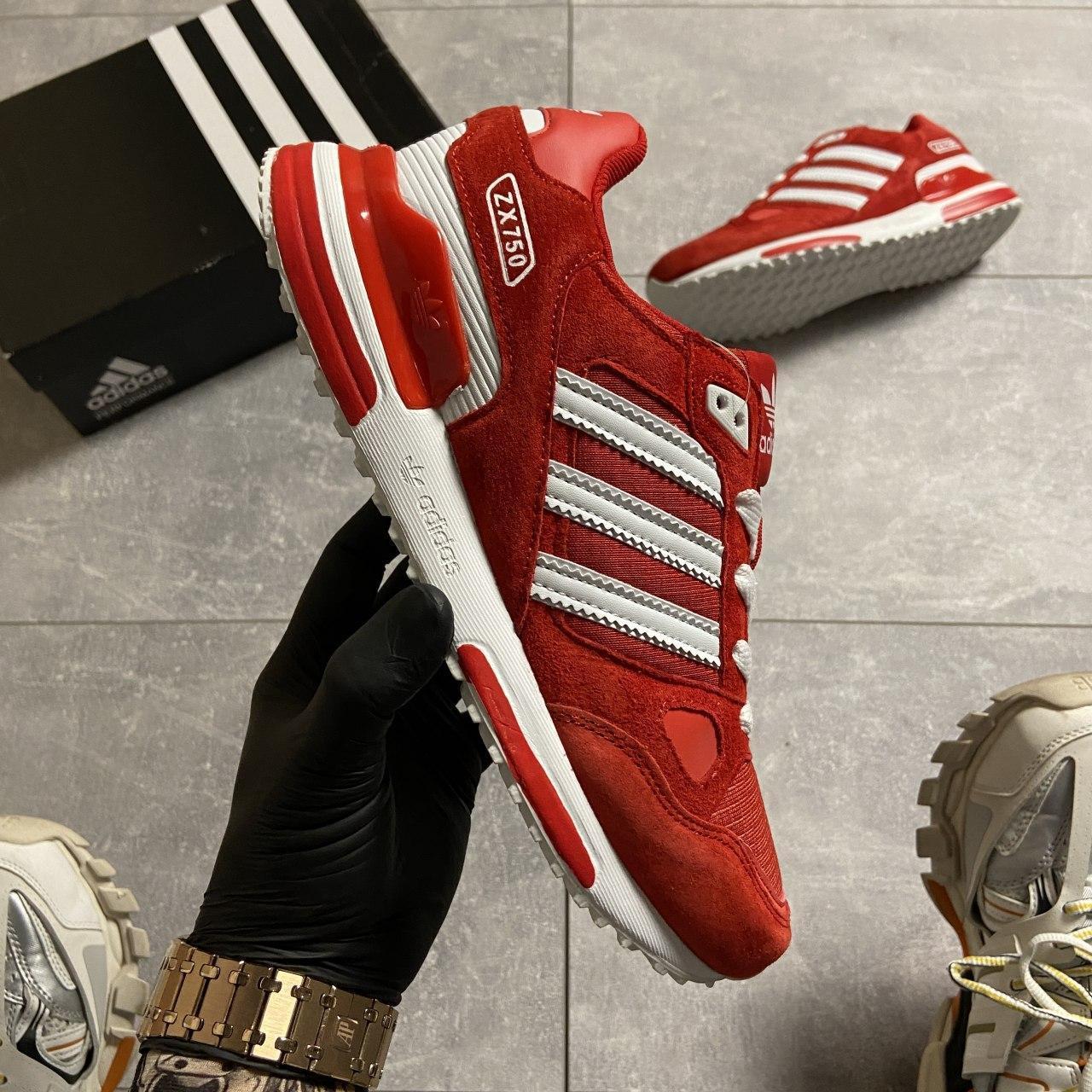 Кроссовки мужские Adidas ZX 750 Red/Whtie. Стильные мужские кроссовки.
