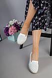 Женские кожаные слипоны с перфорацией белый без брошки, фото 6