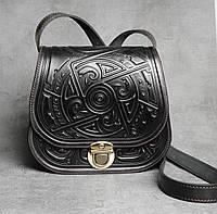Кожаная чёрная женская сумка с авторским орнаментом, фото 1