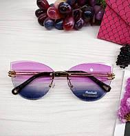 Женские солнцезащитные очки бабочки с розово-синим градиентом