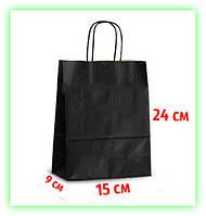 Бумажный Черный подарочный крафт пакет с ручками 150х90х240 - упаковка (25шт в уп.)